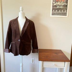 Brown Corduroy Casual Blazer